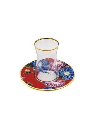 Marianna Flower Kırmızı Cam Çay Seti 12 Parça Kırmızı